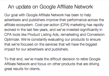 Google Affiliate Network is shutting down