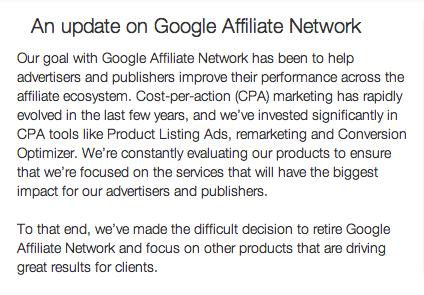 Google Affiliate Network is shutting down