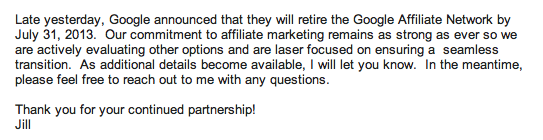 Orbitz email to affiliates about GAN closure