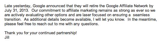 Orbitz email to affiliates about GAN closure